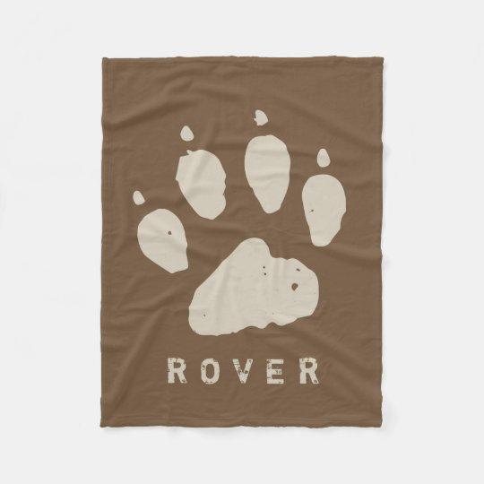 Dirty Doggie Paw Brown Custom Fleece Blanket