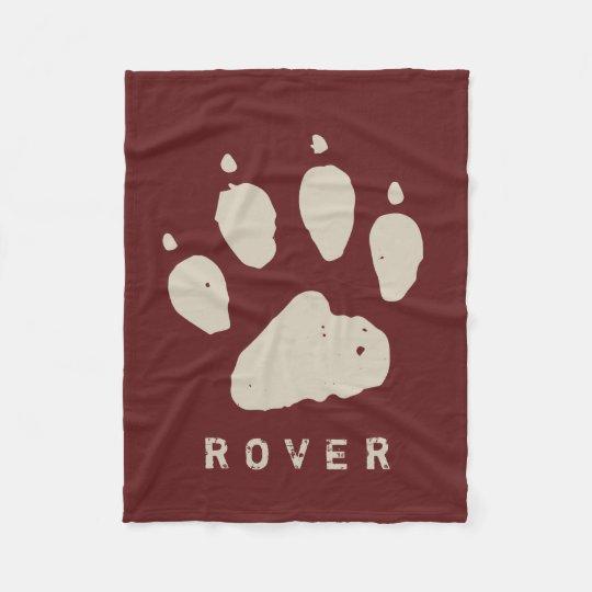 Dirty Doggie Paw Cranberry Red Custom Fleece Blanket