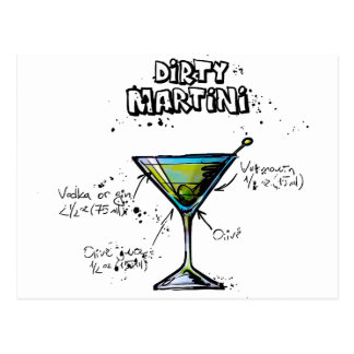 Dirty Martini Cocktail Recipe Postcard