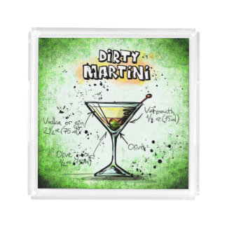 Dirty Martini Cocktail Serving Tray