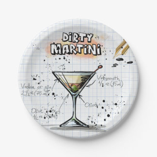 Dirty Martini Paper Plate