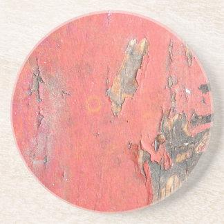 Dirty Peeling Red Paint on Barn Wood Coaster