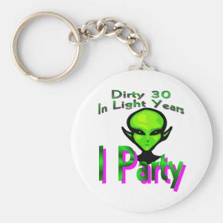 Dirty Thirty Basic Round Button Key Ring