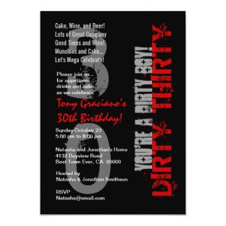 Dirty Thirty Birthday Black White Red Dirty Boy Card
