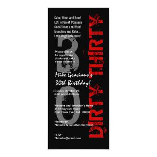 DIRTY THIRTY Birthday Black White Red Tall Card