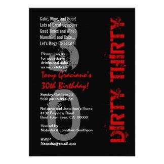 Dirty Thirty Birthday Black White Red Template Invitation