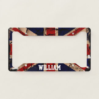 Dirty Vintage United Kingdom UK Flag Personalised Licence Plate Frame