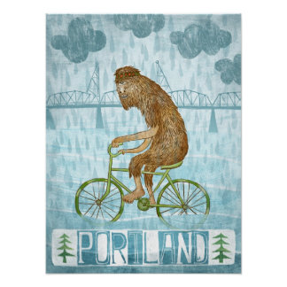 Dirty Wet Bigfoot Hipster Poster