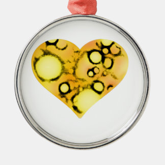 dirty yellow heart Silver-Colored round ornament