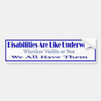 Disabilities r like bumper sticker