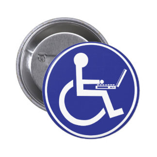 DISABLED LAPTOP 6 CM ROUND BADGE