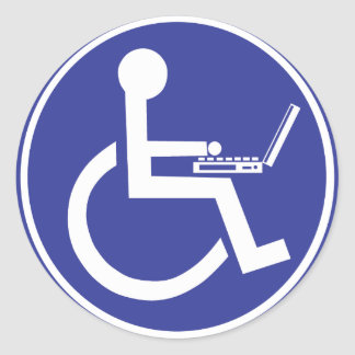DISABLED LAPTOP CLASSIC ROUND STICKER