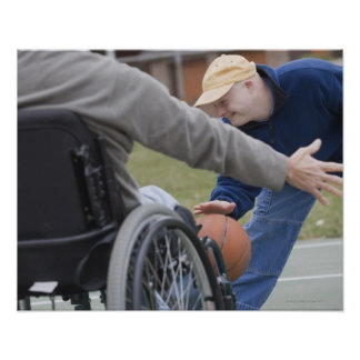 Disabled man playing basketball with his son poster