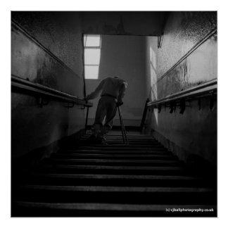Disabled Man Using Steps - Fine Art Photo Print