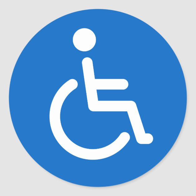 disabled sign or handicapped symbol blue and white classic round rh zazzle com au handicapped logo dwg handicap algorithm