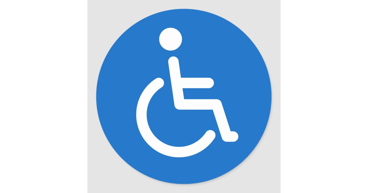 Disabled Sign Or Handicapped Symbol Blue And White Classic Round