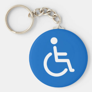 Disabled sign or handicapped symbol blue and white key ring