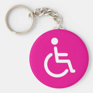 Disabled symbol or pink handicap sign for girls basic round button key ring