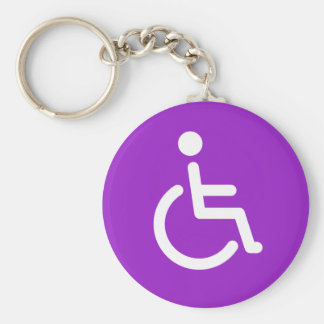 Disabled symbol or purple handicap sign for girls key ring