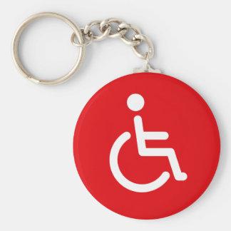Disabled symbol or red handicap sign key ring