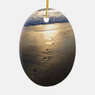 Disappearing Footprints Ceramic Ornament