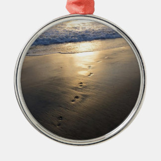 Disappearing Footprints Metal Ornament