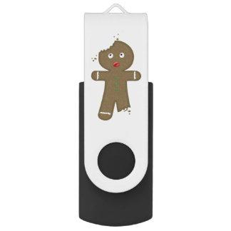 Disappearing Gingerbread Man Swivel USB 2.0 Flash Drive