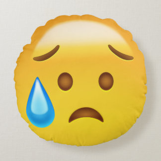 Disappointed but Relieved Face Emoji Round Cushion