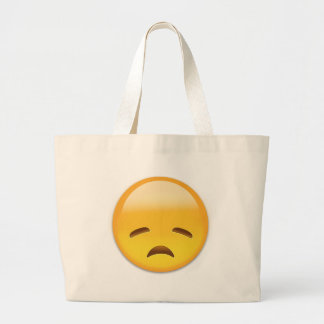 Disappointed Face Emoji Large Tote Bag