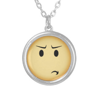 Disappointed Moji Silver Plated Necklace