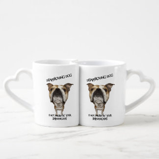 Disapproving Dog Bulldog Not Amused by Shenanigans Lovers Mugs
