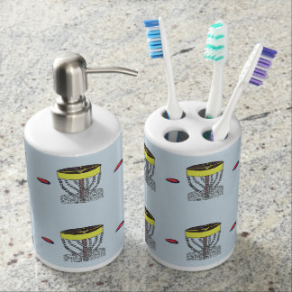 Disc golf all over print bathroom decor soap dispenser and toothbrush holder