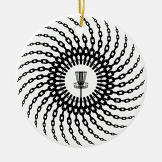 Disc Golf Basket Chains Ceramic Ornament