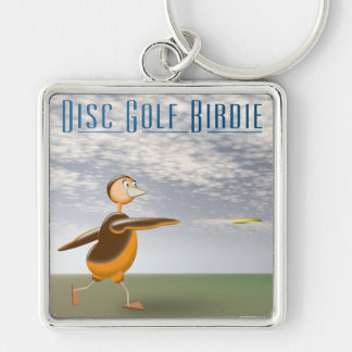 Disc Golf Birdie Silver-Colored Square Key Ring