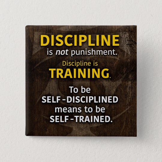 Discipline Is Training - Workout Gym Inspirational 15 Cm Square Badge