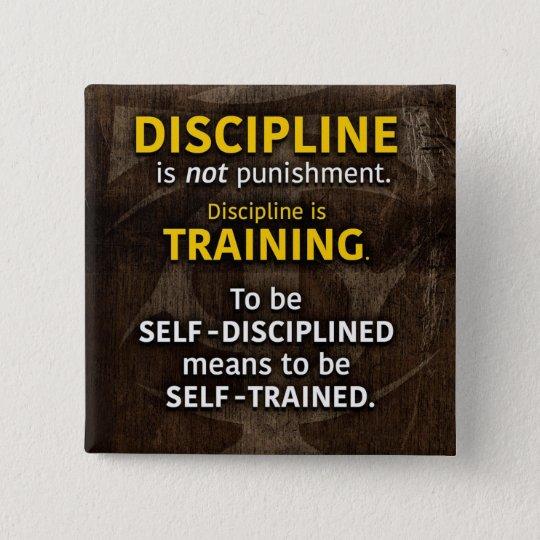 Discipline Is Training - Workout Gym Inspirational 15 Cm Square Badge