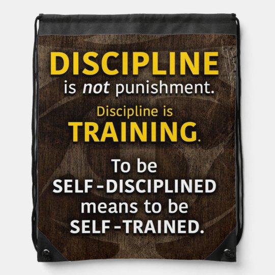 Discipline Is Training - Workout Gym Inspirational Drawstring Bag