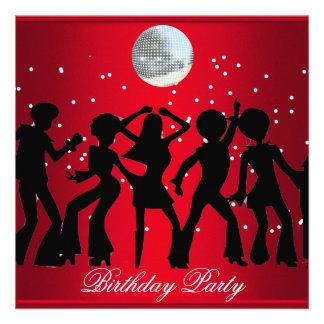 Disco 70 s Birthday Party Invitation Red Invitations