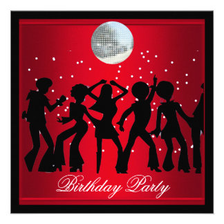 Disco 70 s Birthday Party Red retro 2 Announcement