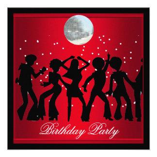 Disco 70 s Birthday Party Red retro 2 Announcement