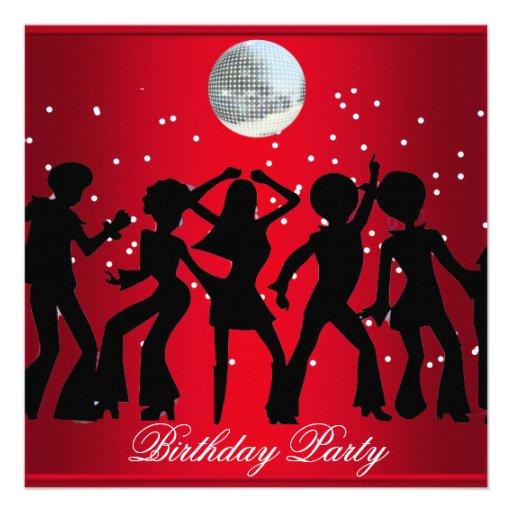 Disco 70's Birthday Party Invitation Red Invitations