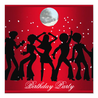 Disco 70's Birthday Party Invitation Red