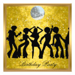 Disco 70's Birthday Party Invitation Retro Custom Announcements
