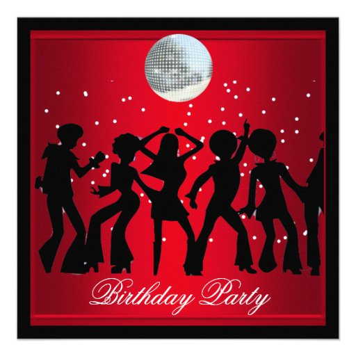Disco 70's Birthday Party Red retro 2 Announcement