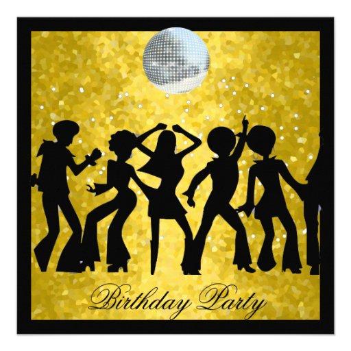 Disco 70's Birthday Party  Retro Announcements