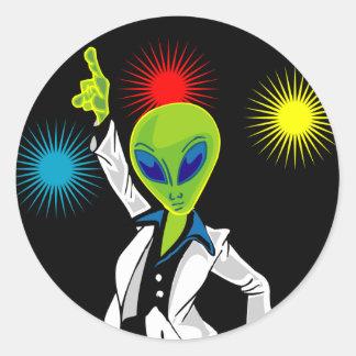 Disco Alien Round Sticker