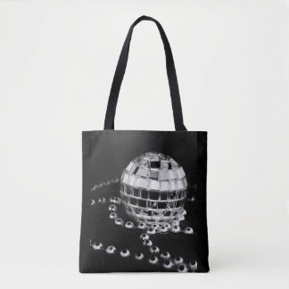 Disco ball b&w photo inverted black tote bag