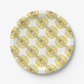 Disco Ball Bee Hive Pattern Paper Plate