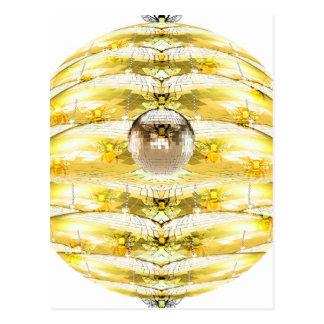 Disco Ball Bee Hive Pattern Postcard