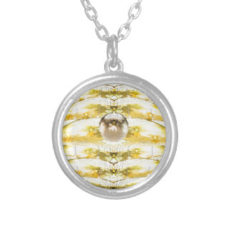 Disco Ball Bee Hive Pattern Silver Plated Necklace